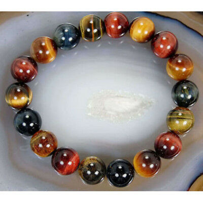 10mm Natural Colorful Tiger's Eye Gems Round Beads Bangle Bracelet Vintage Gift