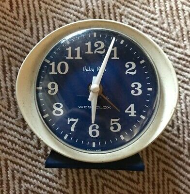 Vintage Baby Ben WESTCLOX alarm clock spares or repairs Blue And White