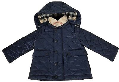BURBERRY Baby Check Detail Diamond-quilted Jacket Ink Blue Size 9 Months a9d18a99d4