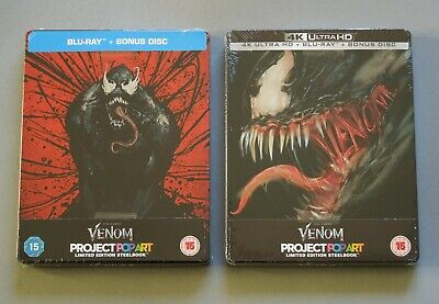 MARVEL'S VENOM 4K ULTRA HD + BLU-RAY BUNDLE - 2x UK STEELBOOK * NEW & SEALED