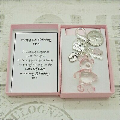 First Birthday Gift Pink Bear Lucky Sixpence Keyring Daughter Granddaughter