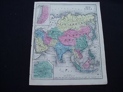 1853 Burgess Map Asia Middle East China India Indonesia Russia Genuine Antique
