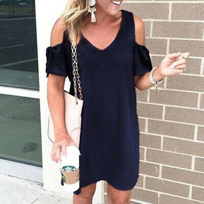 Women V Neck Cold Shoulder Lace Up Shirt Short Sleeve Casual Shirt Dress LH