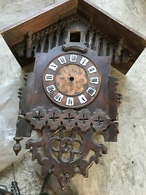 19th Century Cuckoo Clock  Ornate Carved Black Forest . For Restoration