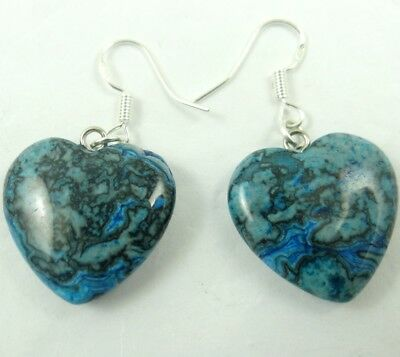 Beautiful Pair Of Heart-shaped Crazy agate pendant 925 silver Earrings A1