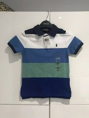 Ralph Lauren Boys Blue Striped Classic Polo Shirt, Age 4, New With Tags RRP £49!
