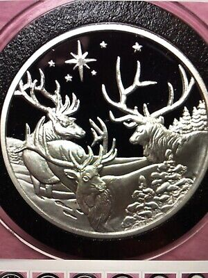 Christmas Reindeer Holiday Proof Coin 1 Troy Oz .999 Fine Silver Round Medal 999