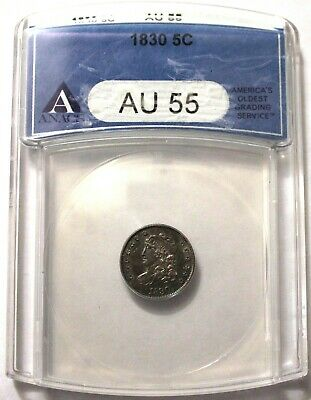 1830 Capped Bust Half Dime H10c ANACS AU 55 Great No Problem Coin!
