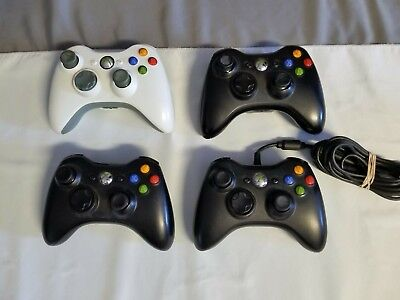 *AS IS* 4 Assorted Microsoft Xbox 360 Controllers For Parts Or Repair