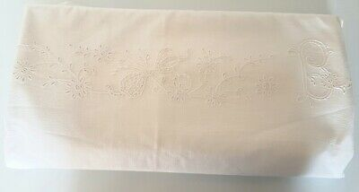 French vintage monogram embroidered heavy bed linen sheet 202cm x 276cm
