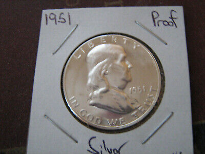 1951 PROOF FRANKLIN SILVER HALF DOLLAR   #1     VERY NICE COIN #af