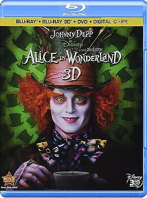 Alice in Wonderland (Blu-ray/DVD, 2010, 3-Disc Set; 3D)