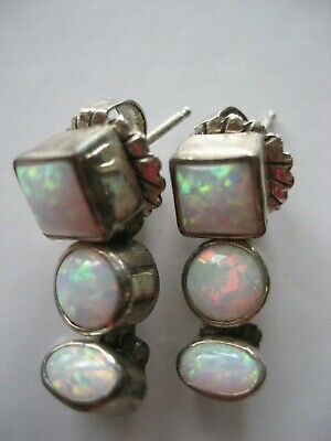 Vintage Silver Plate Opal  Pierced Earrings