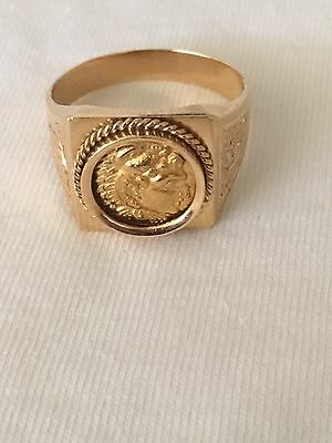 Ancient Greek Coin Alexander The Great In 18K Gold Handmade Ring