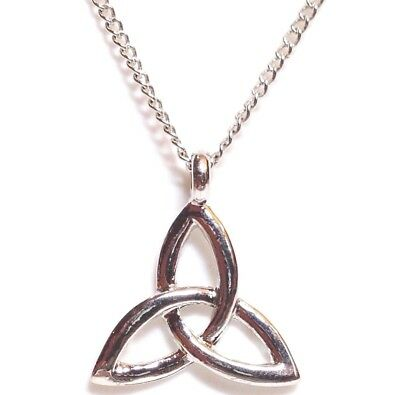 """CELTIC KNOT_Small Pendant 18"""" Chain Necklace_Triquetra Trinity Irish Pagan_109N"""
