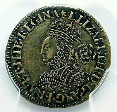 PGCS AU-53. Elizabeth I of England. 6 Pence, ca. 1561 Great Britain Silver Coin