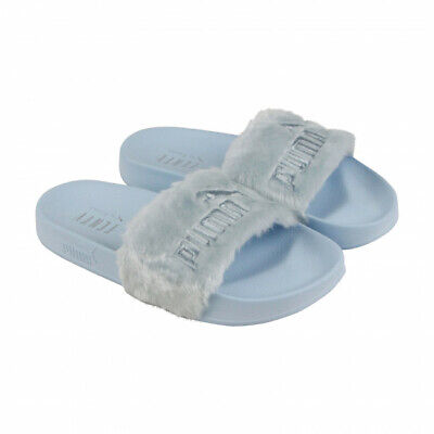 Puma Womens Fenty by Rihanna Riri Fur Blue 36577203 Slides Shoes Flipflops 55a18b4c8