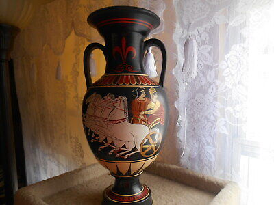 "Collectible Hand made and Painted Signed by Lucas 15"" Tall Greek Pottery Vase"