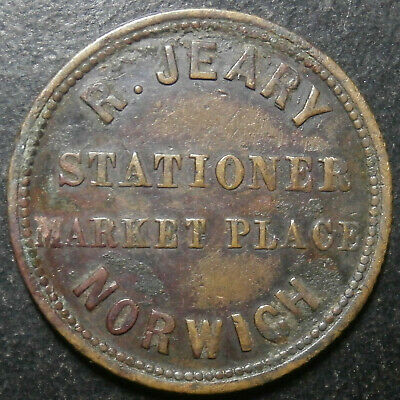 Farthing token 19th century - R Jeary stationer - Norwich RR very rare W.4010