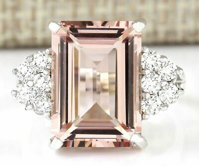 Chic Women Silver Prom Morganite Cubic Zirconia Ring Wedding Jewelry Size 5-12