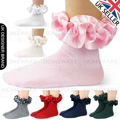 Girls Frilly Satin Ankle Socks Latest Spanish Style Uk Designer Socks White Pink