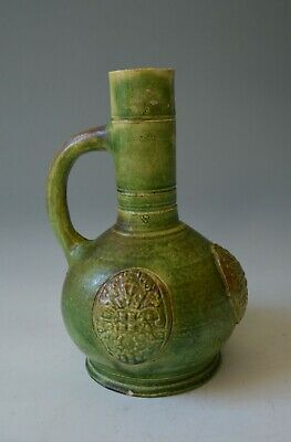 Rare Early German green glazed stone ware vase  17th century collectible ceramic