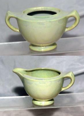 George Clews Chameleon Ware Lemon Green Lustre Sugar Bowl & Milk Jug circa 1920