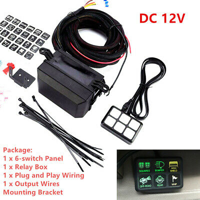 Universal 12V 6 LED Switch Panel Relay Control Box+Wiring Harness For Car Truck