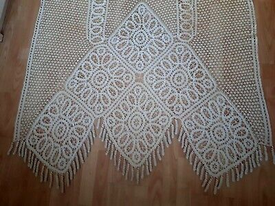 "Vintage ANTIQUE Handmade French Edwardian LACE Curtain Cream Ecru 86.5""x46"""