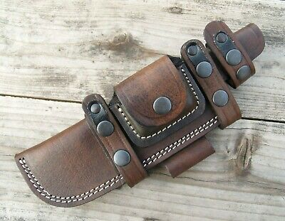 """Horizontal Scout Style Knife Sheath w/ Pouch Genuine Leather Fits Up to 8"""" blade"""