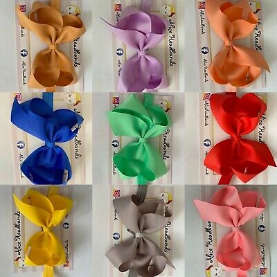 Colourful Big Bow Baby Girls Headbands Soft Headbands Elastic Band 5 Inches+ Lot