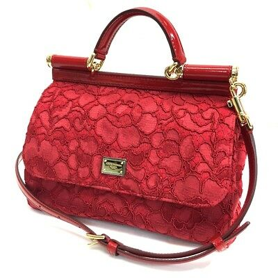 AUTHENTIC DOLCE   GABBANA D G Sicily Logo Plate Flower Embroidery Hand Bag  Red d0ad849ee31b3