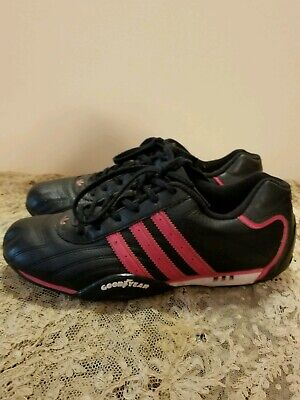 TEAM ADIDAS ADI Racer Goodyear Black Leather Lace Pink Stripe Shoes Mens sz 6