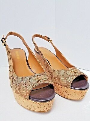765a098253d New Womens Coach Ferry Jacquard Platform Wedge Sling Back Shoes New Size 10