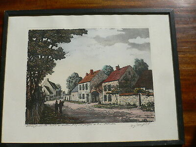 Maurice Jacques ORIGINAL HAND COLOURED ETCHING. Signed Barbizon 19th Century