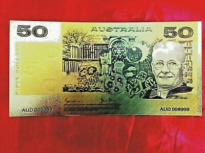 $50 Australian Banknote Coloured 24K Gold Old Paper Bank Note 1983 Limited