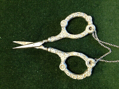 ornate antique sterling sewing scissors for Chatelaine signed & sharp