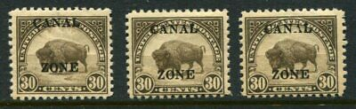 Canal Zone  #93  30¢ Buffalo mint Never Hinged  NO Glassine Gum  3 copies