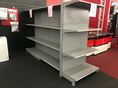 Metal Gondola Shelving, gray, listing for single-sided 4' x 6' complete section