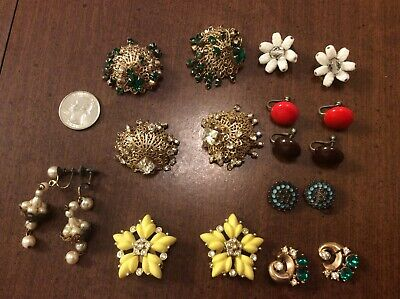 Vintage Lot of 10 Pair Earrings  Rhinestone Dangle Clip or Screw Earrings