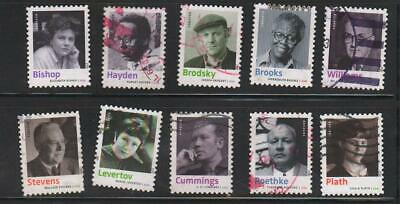2012 20th Cent. American Poets, set of 10, Sc 4654-63, used and off paper