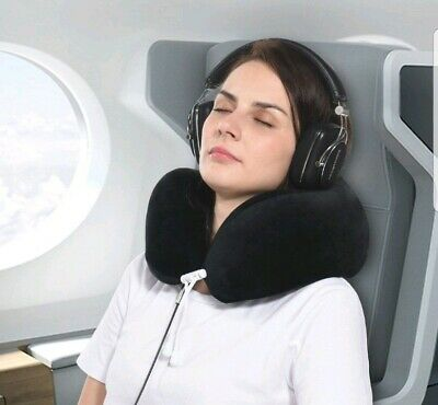 Memory Foam Travel Pillow Chin Supporting Neck Pillow for Airplane, Sleep, Grey