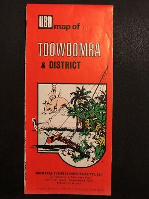 Vintage Old Ubd Map Of Toowoomba & District Australian Map