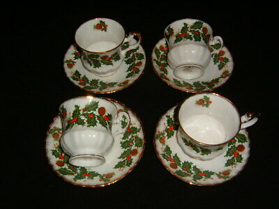 """4 Vintage Rosina England """"Yuletide"""" Fine Bone China Cup and Saucer Sets Nice Con"""