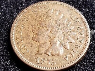 1875 Indian Head Cent, key date, full date, almost full liberty      ZW12  BP6