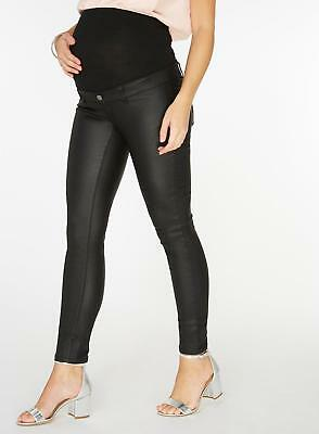 BNWT $55 Maternity Black Coated Skinny Jeans 14 NEW Black Leather Look Pants