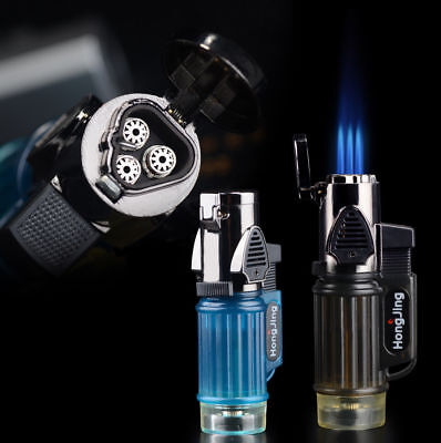 1pc Windproof Trip Torch Jet Flame Refillable Butane gas Cigarette Cigar Lighter