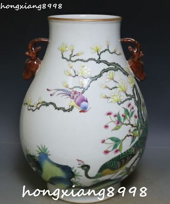 "12""Rare Color Porcelain Peacock Deer Head Animal Flower Tree Vase Bottle Jar Jug"
