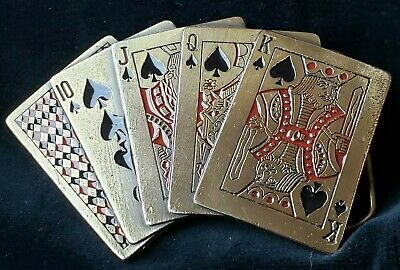 Vintage 1979 Great American Buckle Co. Royal Flush - Ace in the Hole Belt Buckle