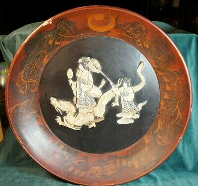 Antique Asian Wooden Bowl Huanghuali ? With Dragon And Mother Of Pearl Geisha